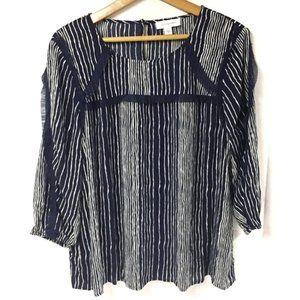 Vintage America Tulle Ruffle Boho Stripe Top SZ L